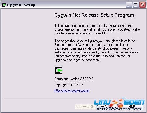 ...删除而是被保留以便下次安装.   图 1. cygwin 安装启动界...