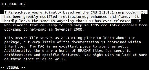 Select the first three sentences in Vim