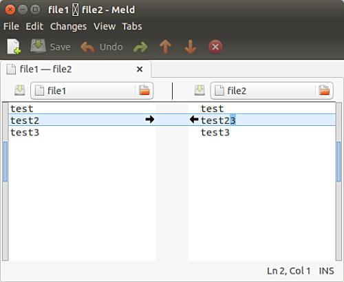 Compare files in Meld