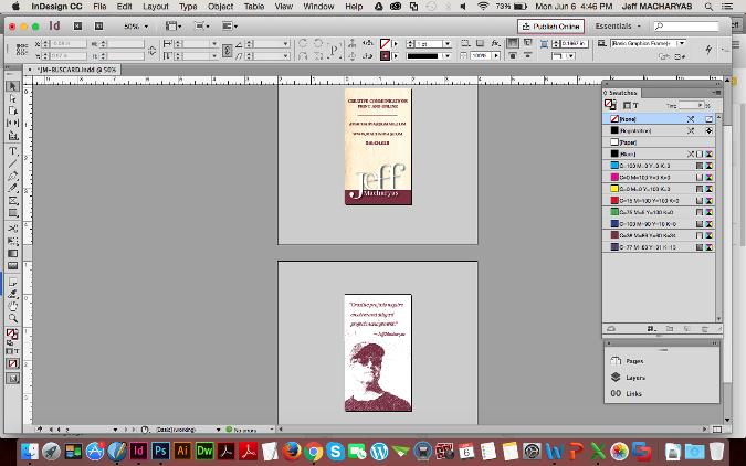 图:在 Adobe InDesign 中编辑名片。