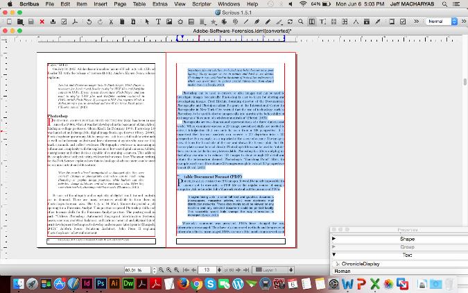 图:Scribus 中被选中的文本。