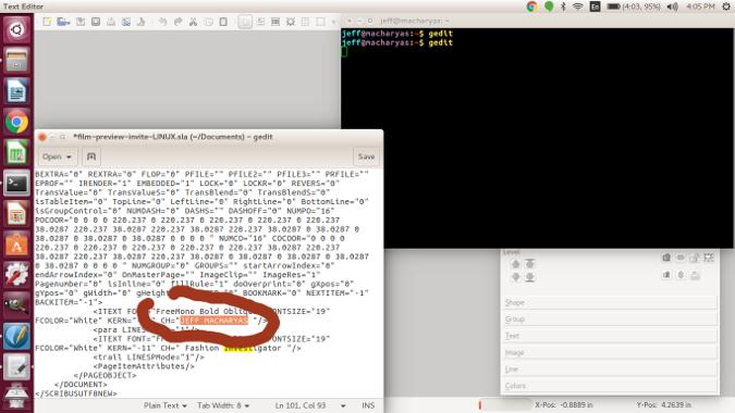图:用 Gedit 编辑 Scribus 文件。