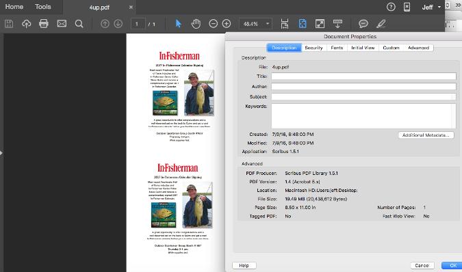图:把 Scribus 转换成 PDF 时得到一个非常大的文件