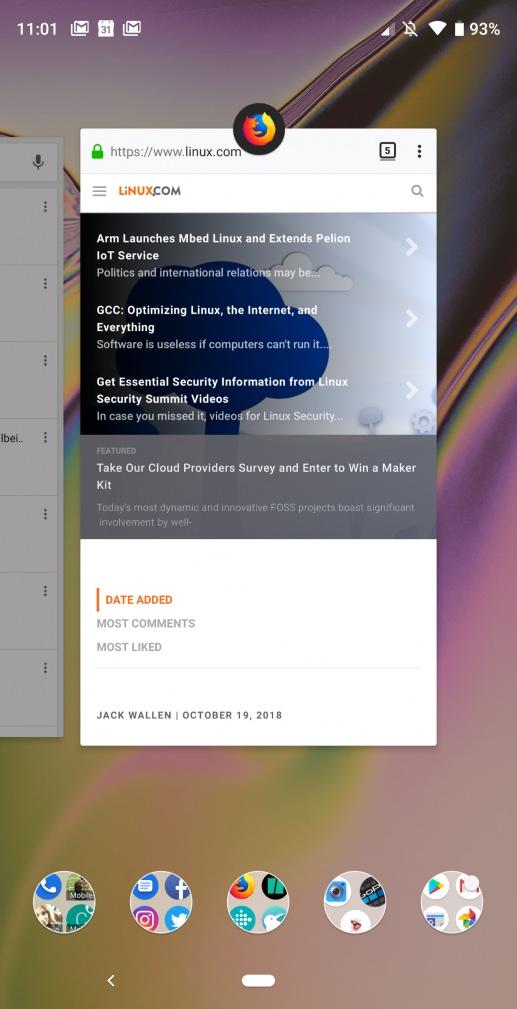 """图 1:Android 9.0 中的""""最近的应用程序""""界面。"""