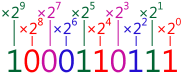 567 in decimal = 1000110111 in binary