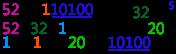 53/16 = 3, 110100/10000=11