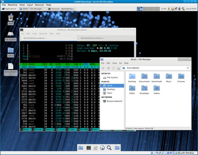 Xfce 桌面及 Thunar 和 Xfce 下的终端模拟器。