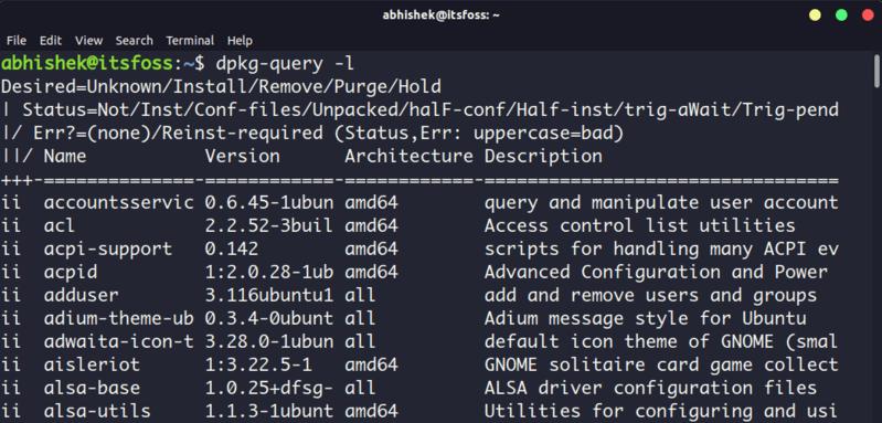 用 dpkg 命令列出显示已经安装的软件包