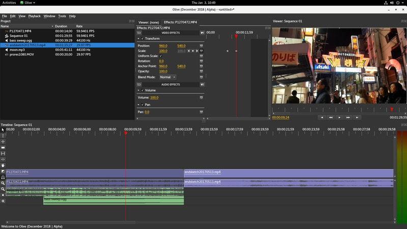 Olive 视频编辑器界面