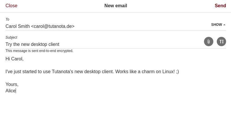 在 Tutanota 中写邮件
