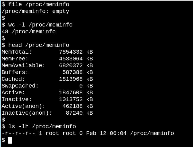 /proc/meminfo 是一个空文件,但仍包含有价值的信息。