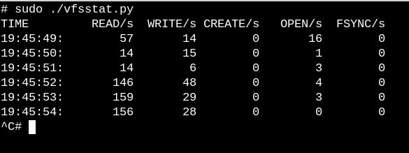 vfsstat.py 是一个带有嵌入式 C 片段的 Python 脚本,它只是计数 VFS 函数调用。