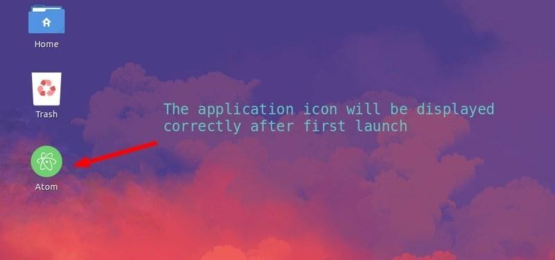 Application shortcut on the desktop