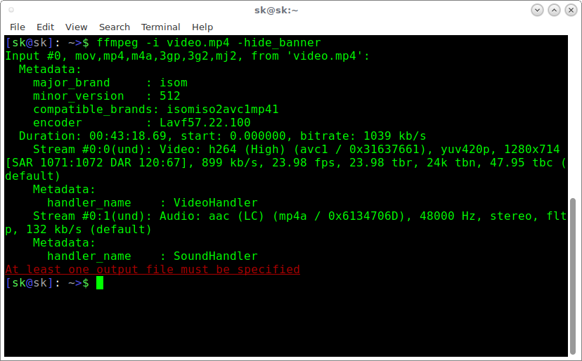 使用 FFMpeg 查看音频、视频文件信息。