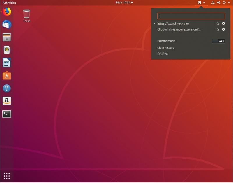 图 1:运行中的 GNOME 桌面的剪切板管理工具。