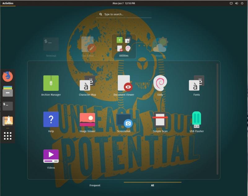 图 3:装有 GNOME 桌面的 Pop!_OS 一览。