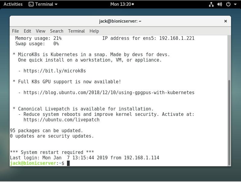 图 4:在 Debian 系统上通过 SSH 连接到远程服务器。