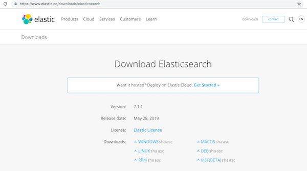 The Elasticsearch download page.