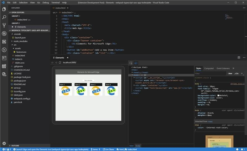 Screen capture showing the Elements for Microsoft Edge extension open in VS Code, with a live preview of a website open