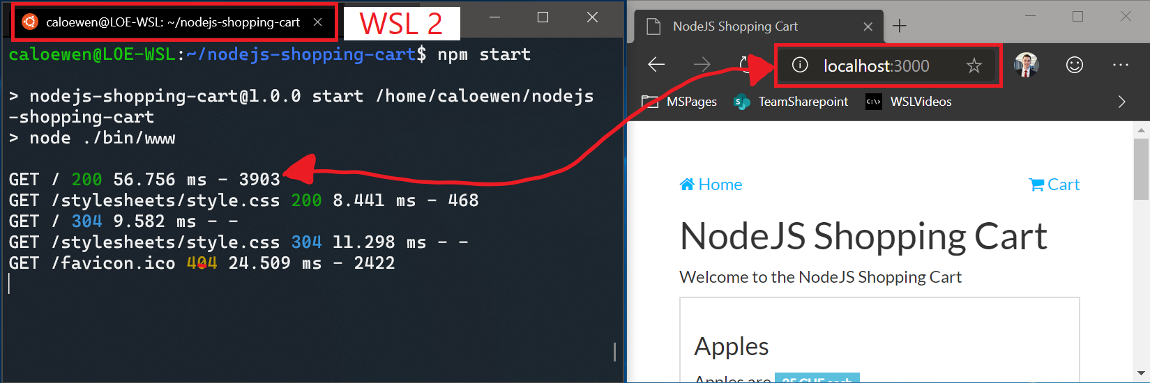 Connecting to a nodeJS site using localhost in WSL 2