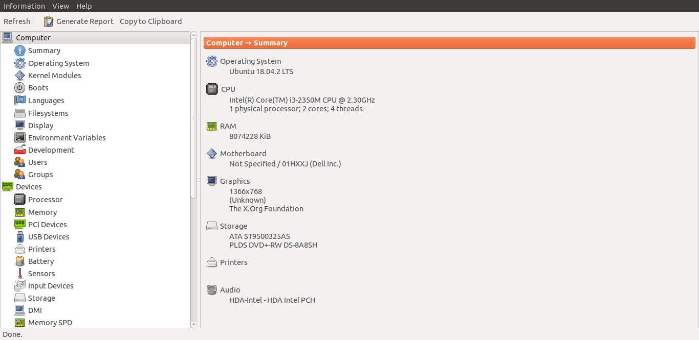 使用 Hardinfo 在 Linux 上查找硬件