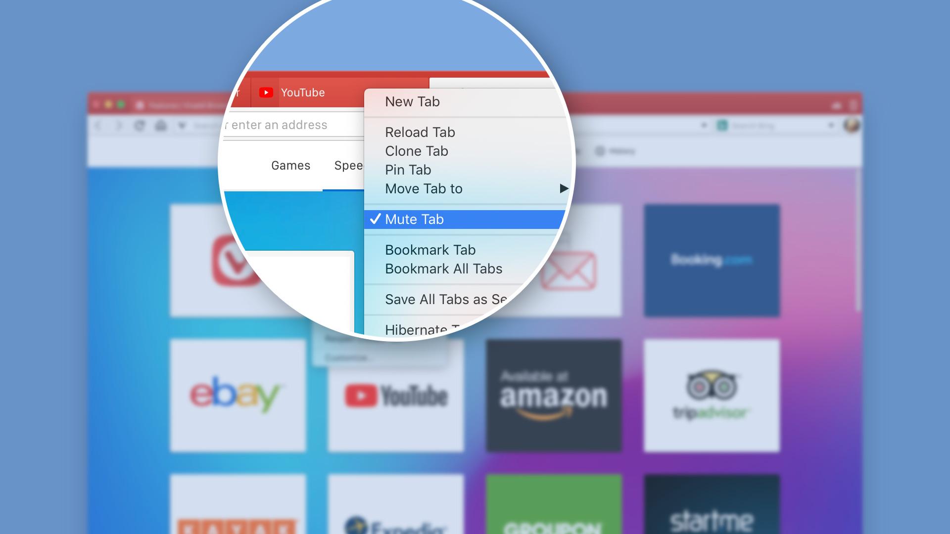 Muting tabs in Vivaldi browser