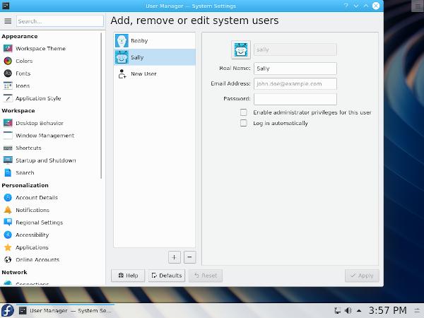 KDE settings - add user