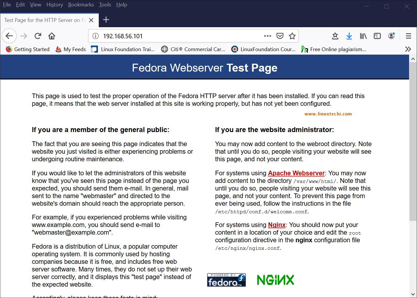 Test-Page-HTTP-Server-Fedora-30