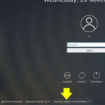Selecting the Window Maker desktop in KDM
