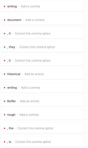 Errors identified by Grammarly