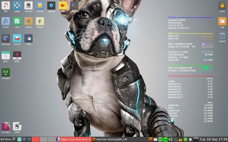 Puppy Linux - around 300 MB download