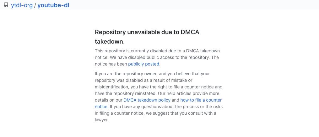 youtube-dl 项目的主页已经被 DMCA 撤下