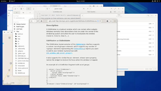 Applications running on GNOME 3.38
