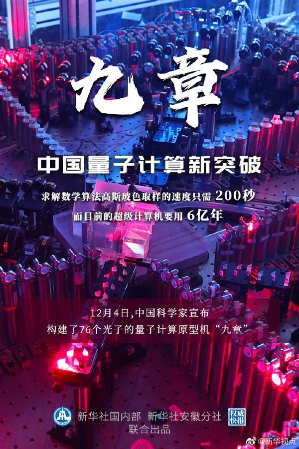 """全球第二速度:中国量子计算原型机""""九章""""问世 里程碑式突破"""
