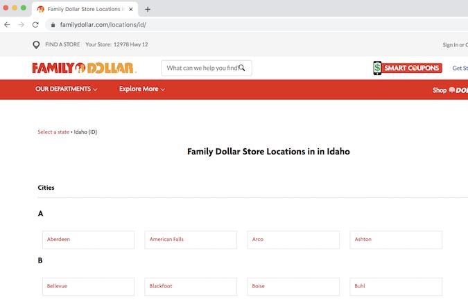 爱达荷州 Family Dollar 所在地页面