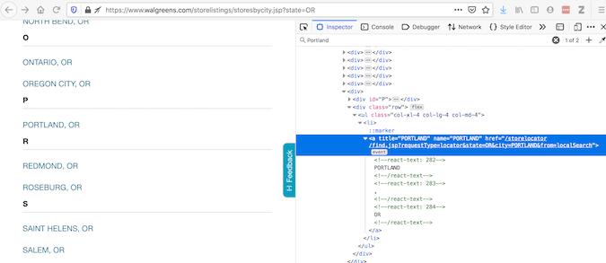 Walgreens 位置页面和代码