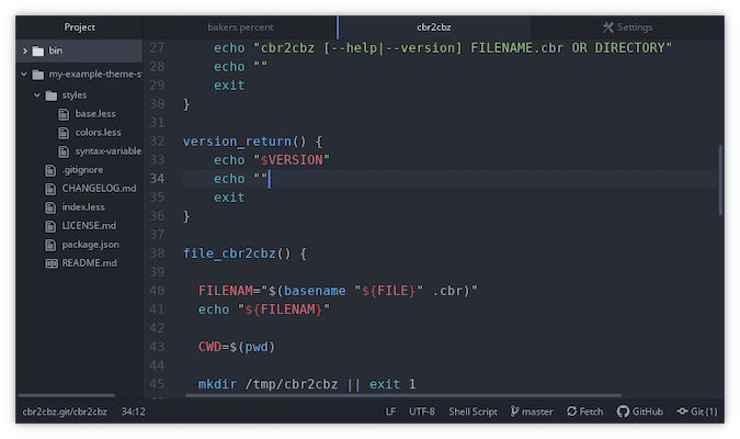 Atom terminal with white text on dark grey background