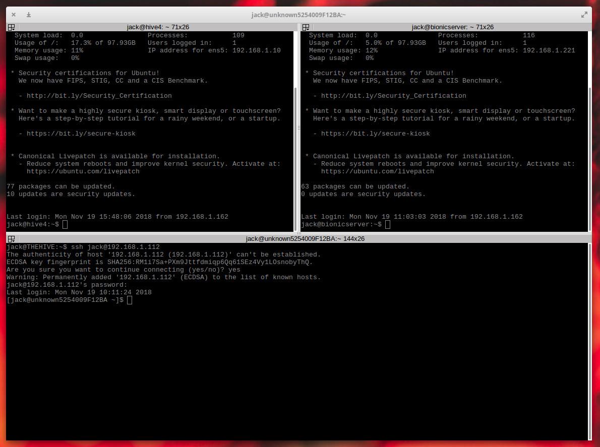 图 6:Terminator 分为三个不同的窗口,每个窗口都连接到不同的 Linux 服务器。
