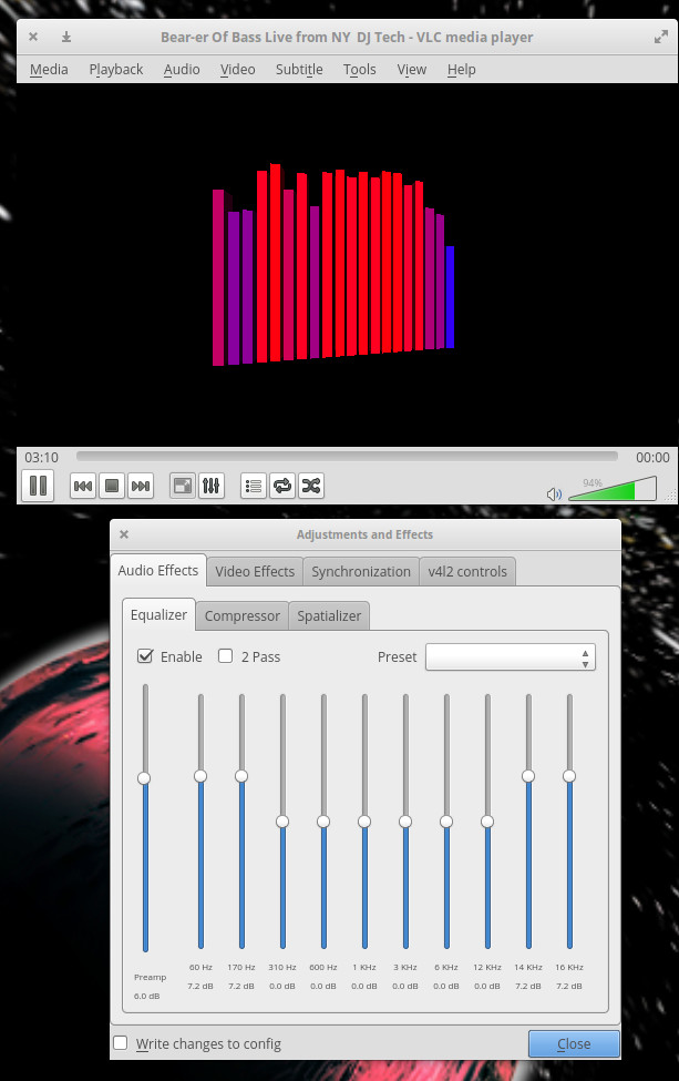 图 5:VLC 可视化工具和均衡器特性。