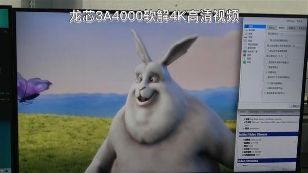 国产龙芯CPU支持软解、硬解4K超高清视频:码率将达40Mbps