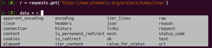 iPython offers suggestions