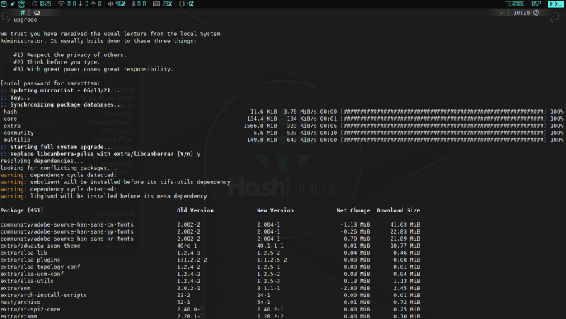 upgrading hash linux